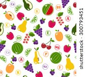 bright fruits seamless pattern... | Shutterstock .eps vector #300793451