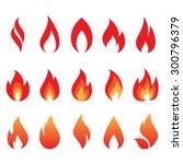 vector set of fire flames | Shutterstock .eps vector #300796379