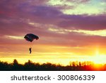 skydiver on colorful parachute... | Shutterstock . vector #300806339