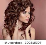 wavy hair. beautiful girl with... | Shutterstock . vector #300815309