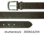 Leather Belt Isolated On White...