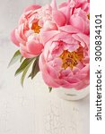 peony flowers in a white vase | Shutterstock . vector #300834101