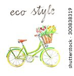watercolor hand drawn bicycle   ... | Shutterstock . vector #300838319