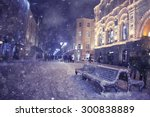 winter night landscape in the... | Shutterstock . vector #300838889