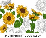 hand drawn sunflowers and... | Shutterstock . vector #300841607