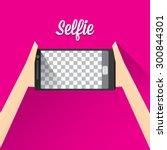 taking selfie photo on smart... | Shutterstock .eps vector #300844301