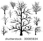set of silhouettes of trees | Shutterstock .eps vector #30085834