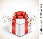 gift box and confetti | Shutterstock .eps vector #300869579