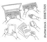 sketch set of hands holding... | Shutterstock .eps vector #300871505