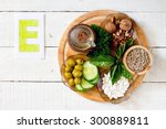 foods containing vitamin e ... | Shutterstock . vector #300889811