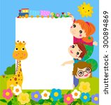 color frame with group of kids... | Shutterstock .eps vector #300894869