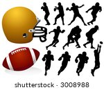 American Football Silhouettes - Vector - stock vector