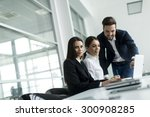 young people working in the... | Shutterstock . vector #300908285