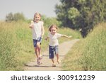 two happy children  playing on... | Shutterstock . vector #300912239