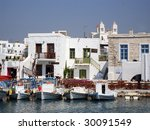 fishing boats and cafes on the... | Shutterstock . vector #30091549