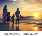 family children beach cruise... | Shutterstock . vector #300916889