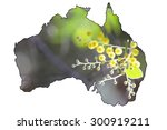 Map Of Australia With Wattle...