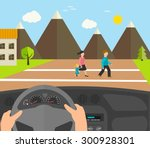 human hands driving a car ... | Shutterstock .eps vector #300928301