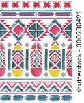 aztec seamless watercolor... | Shutterstock . vector #300930491