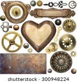 vintage metal details  textures ... | Shutterstock . vector #300948224