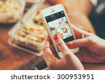 woman hand taking photo food by ... | Shutterstock . vector #300953951