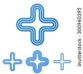 blue line plus logo design set | Shutterstock .eps vector #300960395