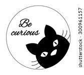 Stock vector funny cat card design cute cat face carton character black cat silhouette inspiration quote 300961157
