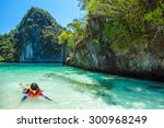 asia young lady snorkeling in... | Shutterstock . vector #300968249