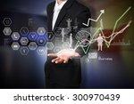 businessman hold analysis on... | Shutterstock . vector #300970439