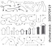 hand drawn arrows set. vector... | Shutterstock .eps vector #300970919