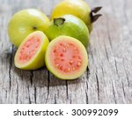 Fresh Guava Fruit On Wooden...