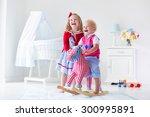 two children play indoors. kids ... | Shutterstock . vector #300995891
