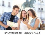 three tourist friends... | Shutterstock . vector #300997115