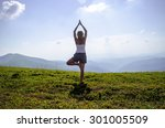 woman meditating in tree yoga... | Shutterstock . vector #301005509