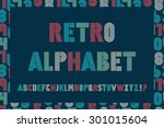 retro stripes funky fonts set... | Shutterstock .eps vector #301015604