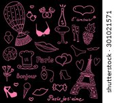 paris doodles | Shutterstock .eps vector #301021571