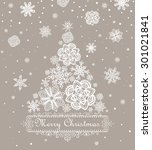retro paper xmas greeting... | Shutterstock .eps vector #301021841