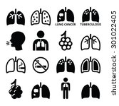 lungs  lung disease icons set   ... | Shutterstock .eps vector #301022405