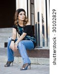 beautiful woman in the street | Shutterstock . vector #30102829