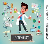scientist with icon elements of ... | Shutterstock .eps vector #301034741