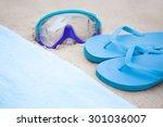 beach concept   flip flops ... | Shutterstock . vector #301036007