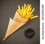 french fries in paper bag.... | Shutterstock .eps vector #301040189