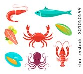 seafood flat kit. fish ... | Shutterstock .eps vector #301050599