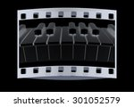 piano isolated on black... | Shutterstock . vector #301052579
