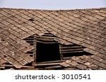 Old Collapsed Roof On A House....