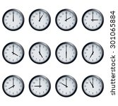 set of realistic wall clocks ... | Shutterstock .eps vector #301065884