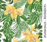 yellow orchids and tropical... | Shutterstock .eps vector #301068191