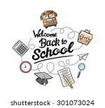 coloured welcome back to school ... | Shutterstock .eps vector #301073024