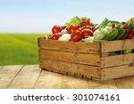 wooden box of vegetables  | Shutterstock . vector #301074161
