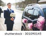 stylish elegant bride holding... | Shutterstock . vector #301090145